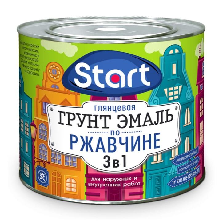 """Грунт-эмаль 3в1 черная """"Start"""" 0.9 кг"""