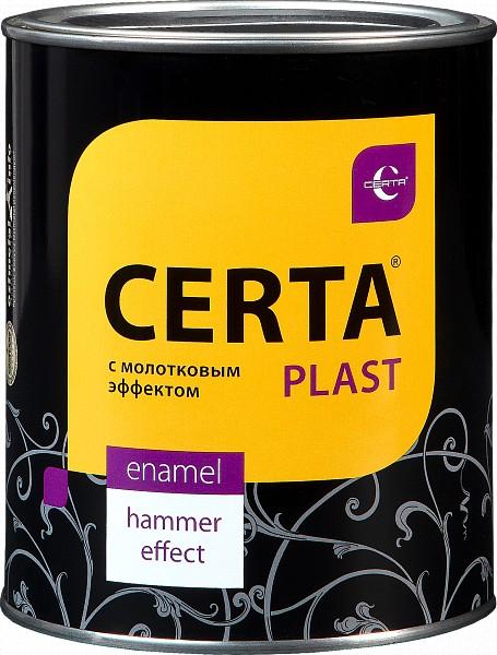 """Эмаль """"CERTA-Plast"""" с молотк. эффект. черный 0.8 кг"""