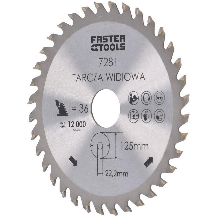 Пильный диск по дереву 125х22.2х36 зуб. Faster tools/e7281