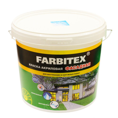 """Краска акриловая """"Farbitex"""" фасадная 6 кг/ф1868000"""